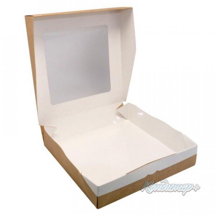 Коробка с окном белая / крафт 20 х 20 х 4 мм