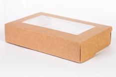 Коробка с окном белая / крафт 200*120*40 мм